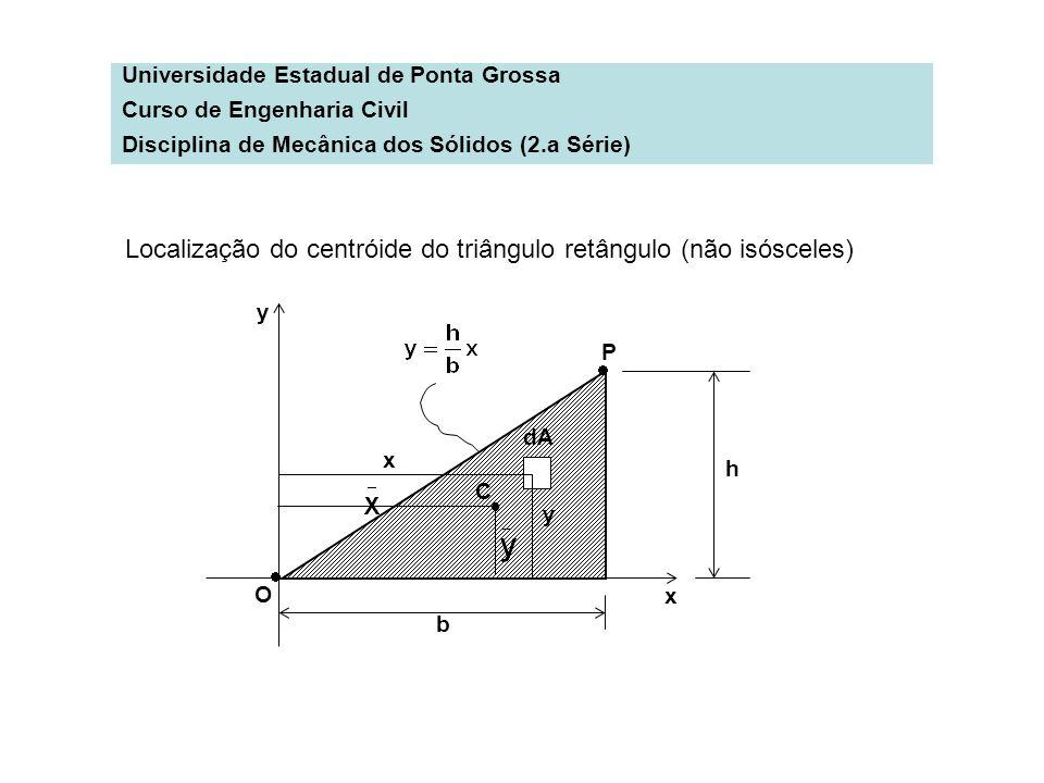 Universidade Estadual de Ponta Grossa Curso de Engenharia Civil Disciplina de Mecânica dos Sólidos (2.a Série) Localização do centróide do triângulo r