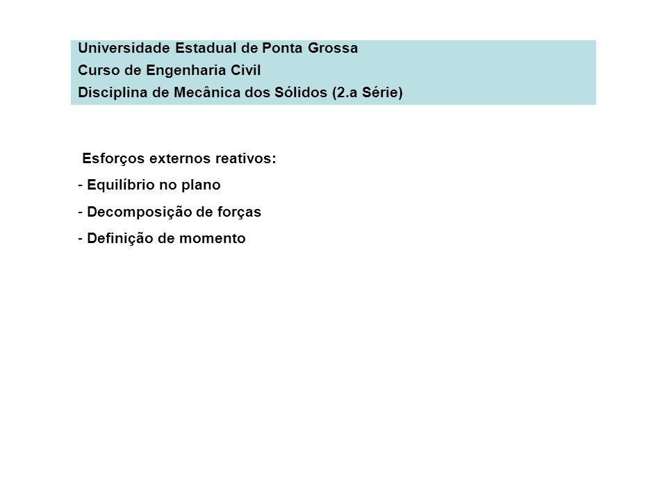 Universidade Estadual de Ponta Grossa Curso de Engenharia Civil Disciplina de Mecânica dos Sólidos (2.a Série) Esforços externos reativos: - Equilíbri