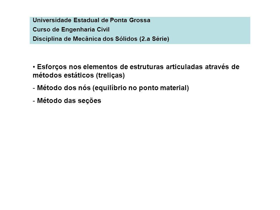 Universidade Estadual de Ponta Grossa Curso de Engenharia Civil Disciplina de Mecânica dos Sólidos (2.a Série) Esforços nos elementos de estruturas ar