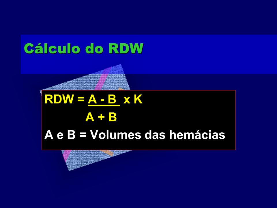 Cálculo do RDW RDW = A - B x K A + B A e B = Volumes das hemácias