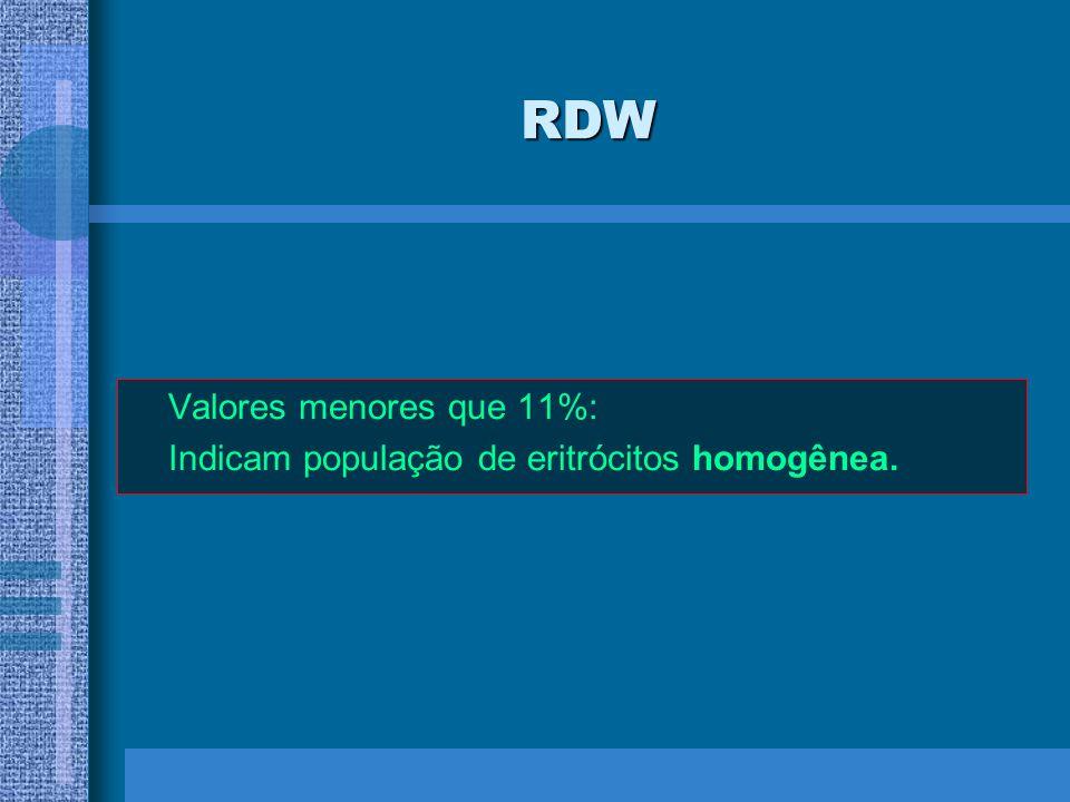 RDW Valores menores que 11%: Indicam população de eritrócitos homogênea.