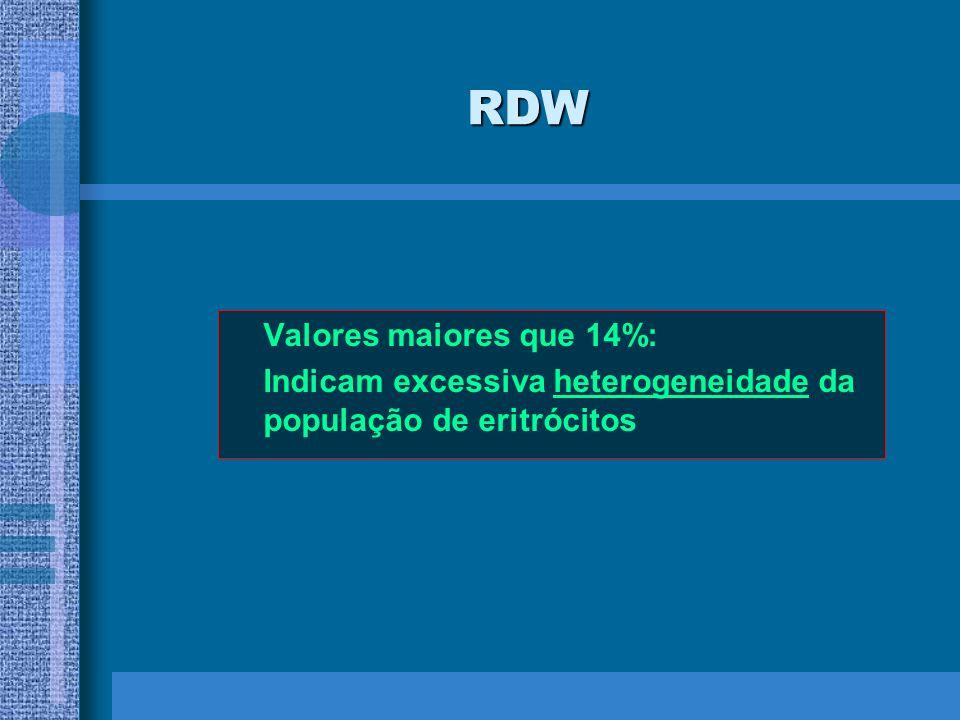 RDW Valores maiores que 14%: Indicam excessiva heterogeneidade da população de eritrócitos