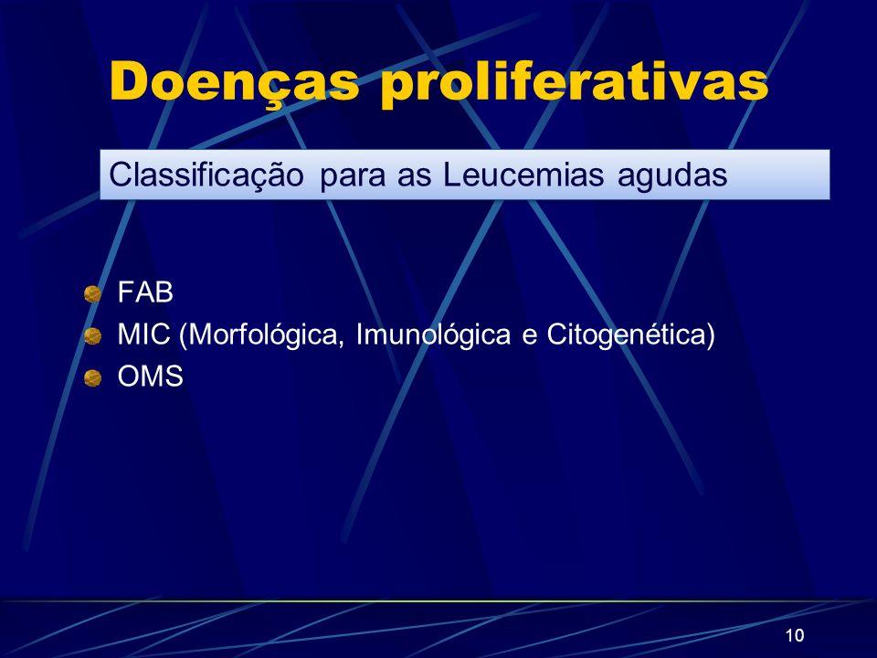9 Doenças proliferativas LEUCEMIAS AGUDAS São aquelas em que predominam os elementos celulares INDIFERENCIADOS. LEUCEMIAS CRÔNICAS São aquelas em que