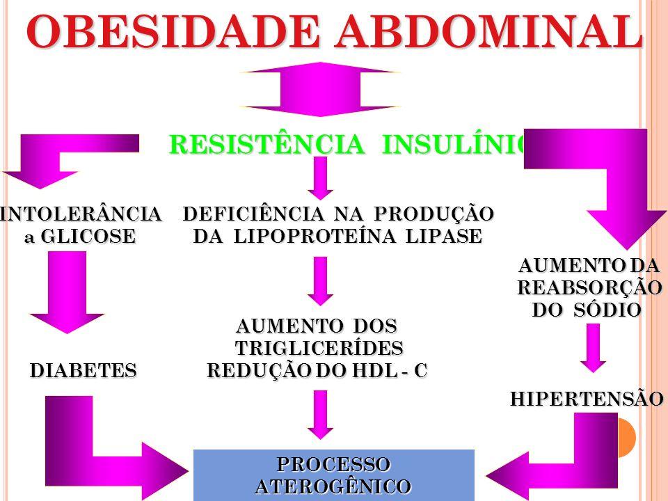 OBESIDADE ABDOMINAL RESISTÊNCIA INSULÍNICA INTOLERÂNCIA a GLICOSE DEFICIÊNCIA NA PRODUÇÃO DA LIPOPROTEÍNA LIPASE AUMENTO DOS TRIGLICERÍDES TRIGLICERÍD