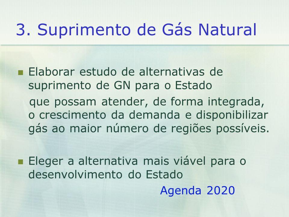 3. Suprimento de Gás Natural Elaborar estudo de alternativas de suprimento de GN para o Estado que possam atender, de forma integrada, o crescimento d