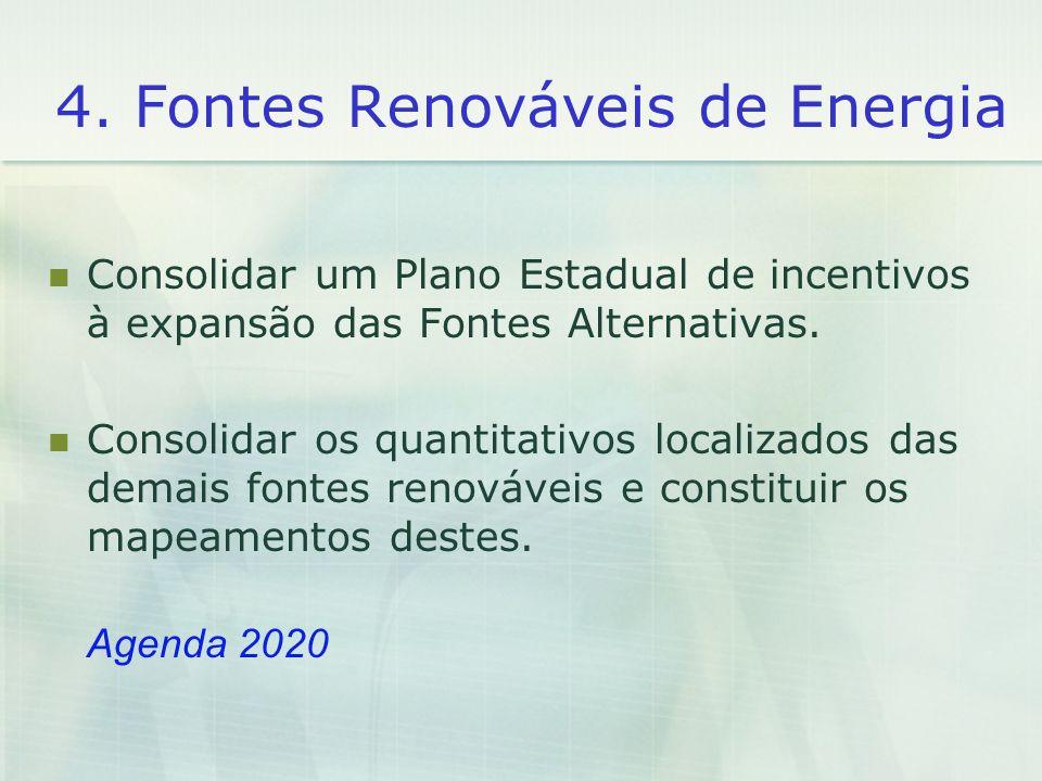 4. Fontes Renováveis de Energia Consolidar um Plano Estadual de incentivos à expansão das Fontes Alternativas. Consolidar os quantitativos localizados