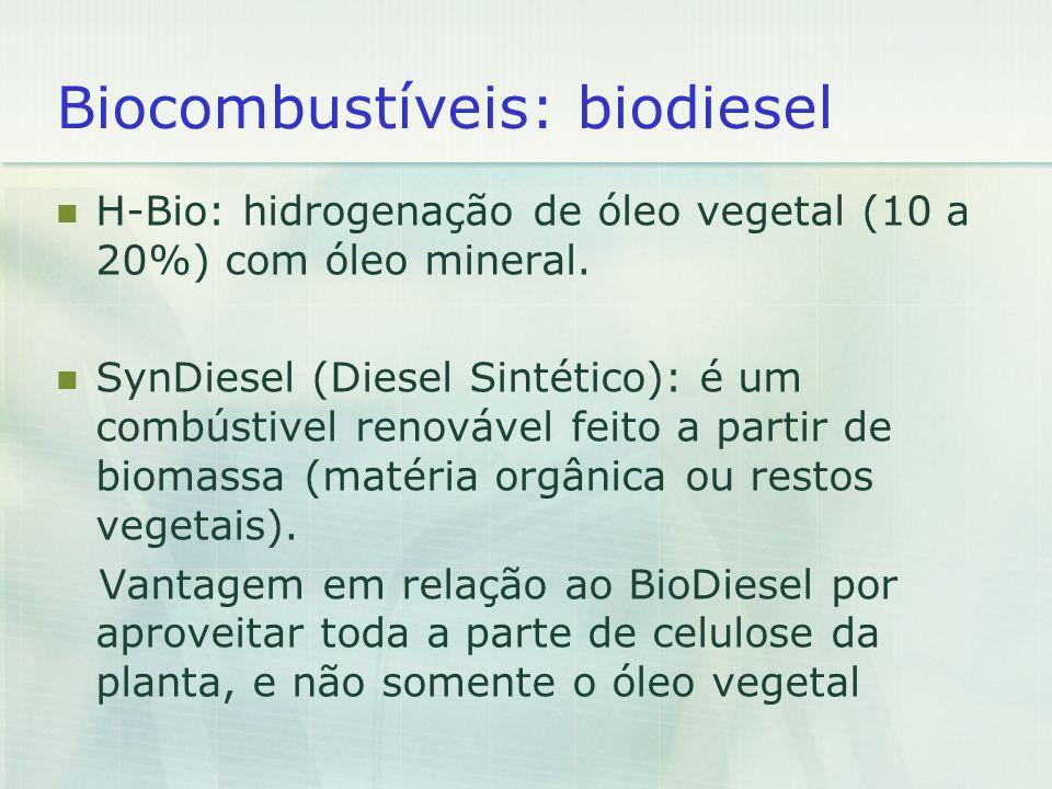 Biocombustíveis: biodiesel H-Bio: hidrogenação de óleo vegetal (10 a 20%) com óleo mineral. SynDiesel (Diesel Sintético): é um combústivel renovável f