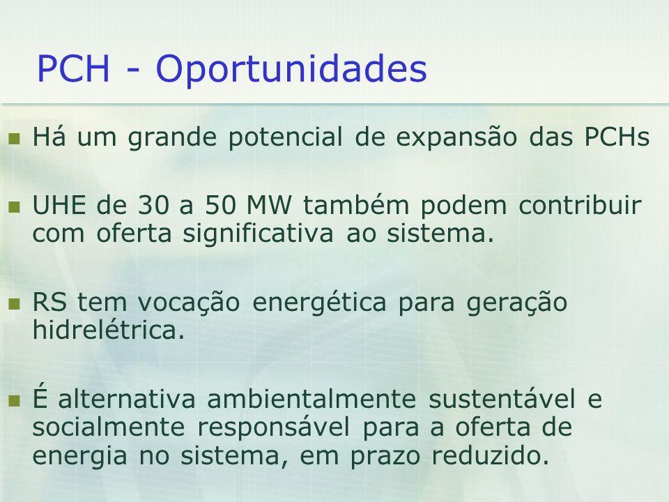 PCH - Oportunidades Há um grande potencial de expansão das PCHs UHE de 30 a 50 MW também podem contribuir com oferta significativa ao sistema. RS tem