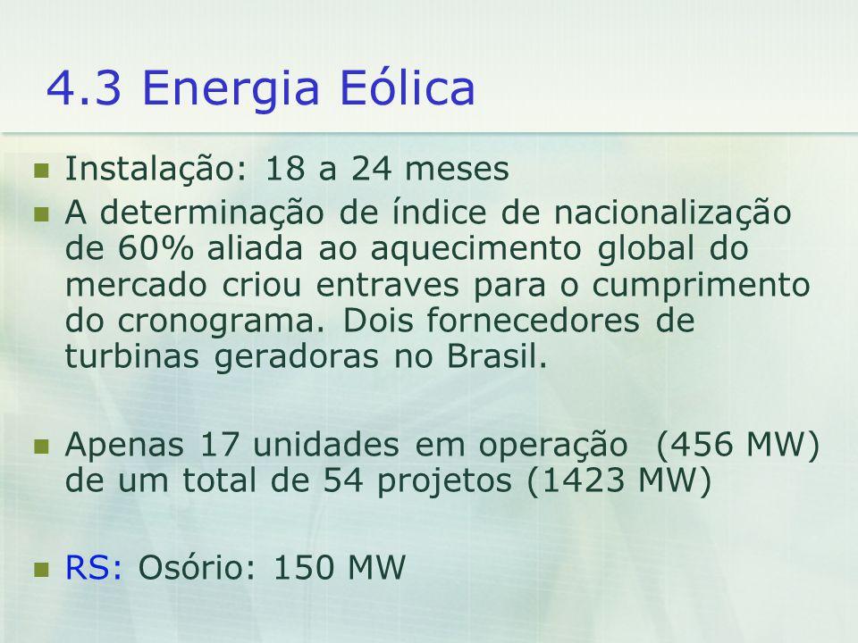4.3 Energia Eólica Instalação: 18 a 24 meses A determinação de índice de nacionalização de 60% aliada ao aquecimento global do mercado criou entraves