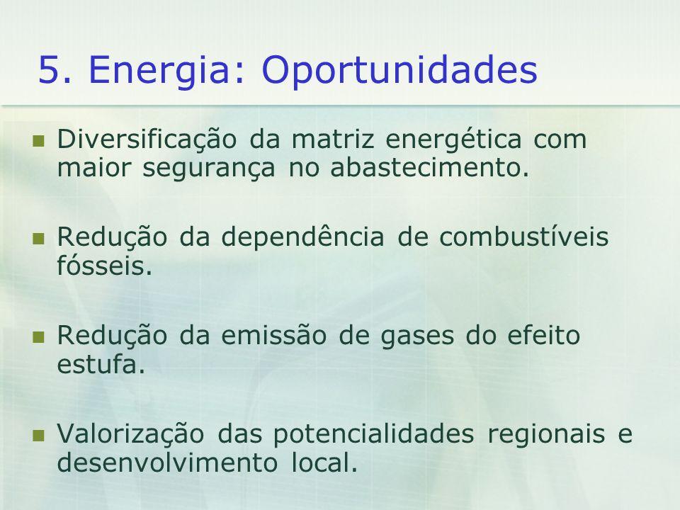 5. Energia: Oportunidades Diversificação da matriz energética com maior segurança no abastecimento. Redução da dependência de combustíveis fósseis. Re