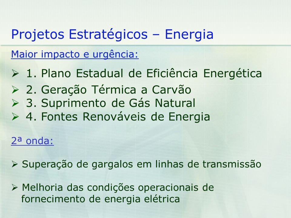 Projetos Estratégicos – Energia Maior impacto e urgência: 1. Plano Estadual de Eficiência Energética 2. Geração Térmica a Carvão 3. Suprimento de Gás