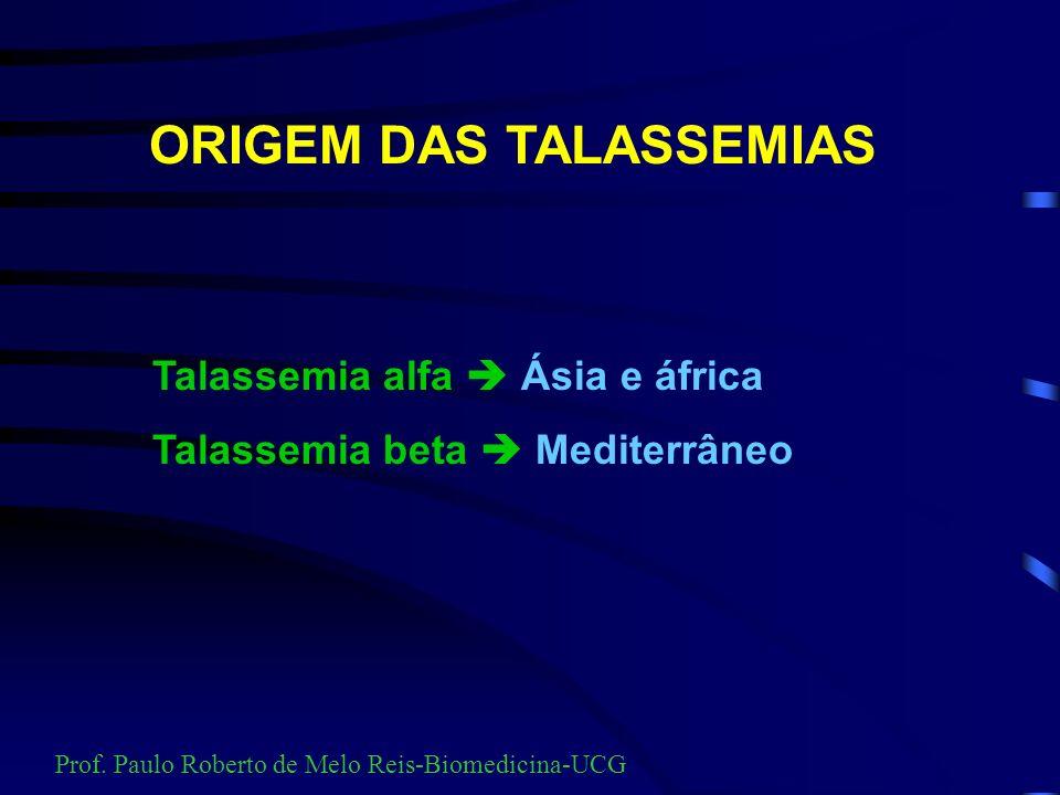 PRINCIPAIS TIPOS DE TALASSEMIAS TALASSEMIA ALFA TALASSEMIAS BETA TALASSEMIAS INTERATIVAS FENÓTIPOS TALASSÊMICOS Prof. Paulo Roberto de Melo Reis-Biome