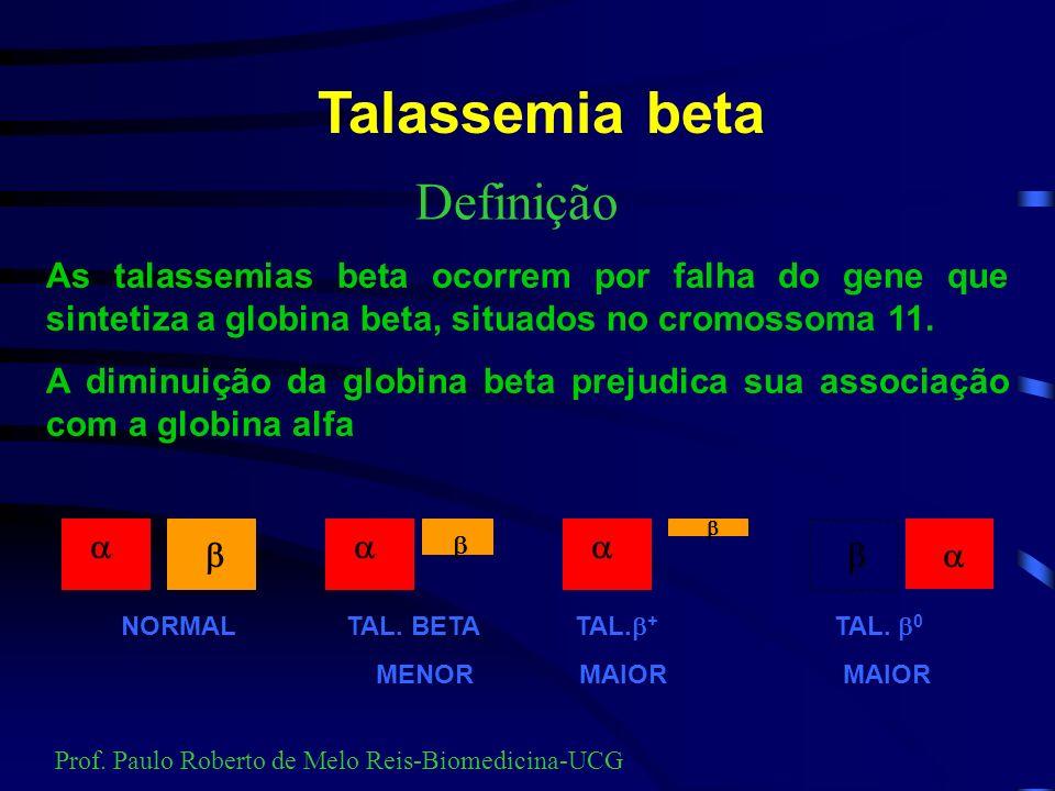 ORIGEM DAS TALASSEMIAS Talassemia alfa Ásia e áfrica Talassemia beta Mediterrâneo Prof. Paulo Roberto de Melo Reis-Biomedicina-UCG