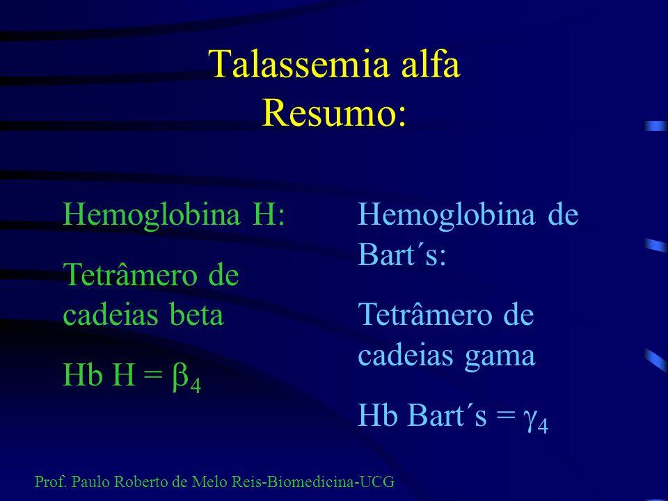 Talassemia alfa Relações laboratoriais MínimaMenorDoença da Hb H Hidropisia fetal VCM74-8572-8060-7280-100 Hb11-1510-138-10<7 % Hb H Traços- 2% 2 -55-200-20 Prof.