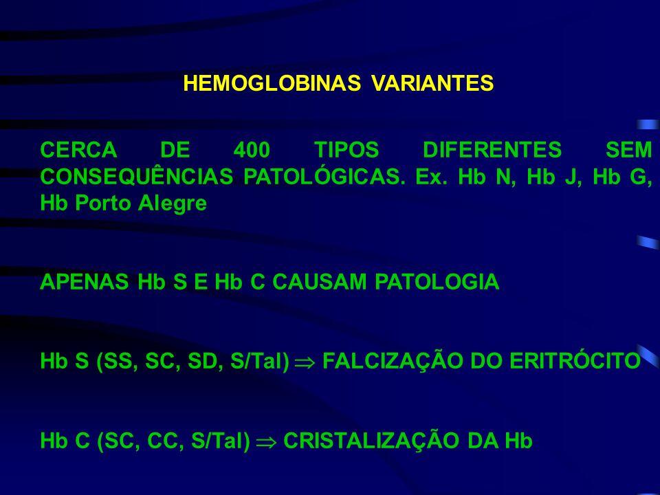 Hemoglobina E É causada por uma mutação no gene beta da globina. Há substituição do lisina (Lis) é substituída pelo ácido glutâmico (Glu) na posição 2