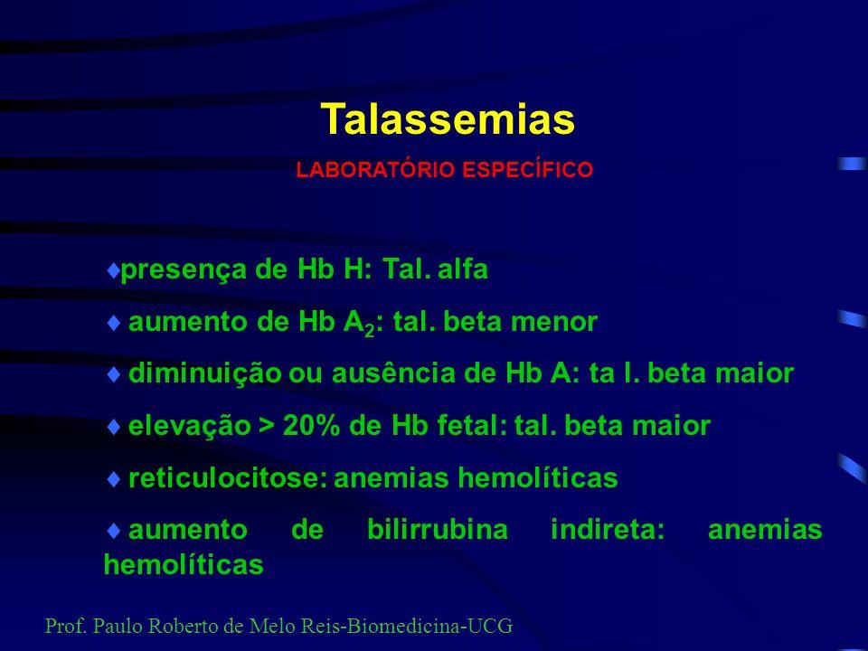 Métodos para diagnosticar hemoglobinopatias e talasemias Métodos auxiliares: 1.Resistência globular a salina 0,36% 2.Dosagem de Hb Fetal 3.Pesquisa de Hb Fetal 4.Teste de Falcização 5.Pesquisa de Talassemia Alfa (Hb H) 6.Pesquisa de Corpos de Heinz Métodos básicos: 1.Eletroforese Alcalina 2.Eletroforese Ácida 3.Dosagem de A 2 Prof.