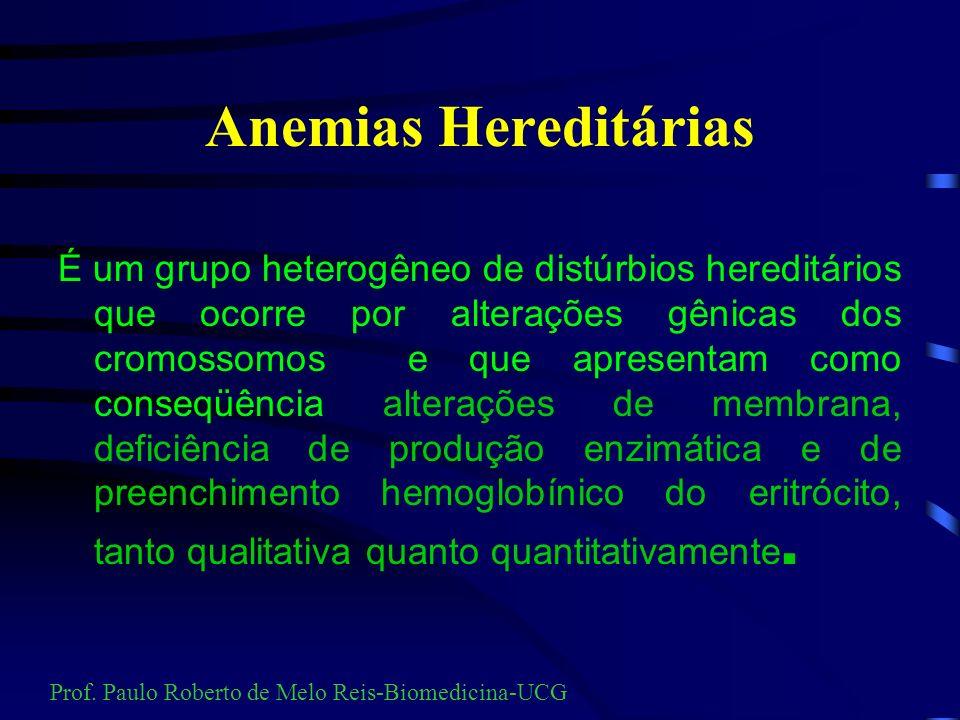 Anemias Hereditárias É um grupo heterogêneo de distúrbios hereditários que ocorre por alterações gênicas dos cromossomos e que apresentam como conseqüência alterações de membrana, deficiência de produção enzimática e de preenchimento hemoglobínico do eritrócito, tanto qualitativa quanto quantitativamente.