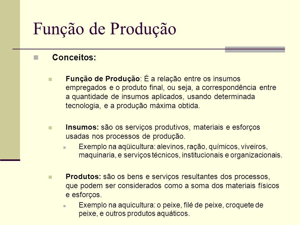 Função de Produção Conceitos: Função de Produção: É a relação entre os insumos empregados e o produto final, ou seja, a correspondência entre a quanti