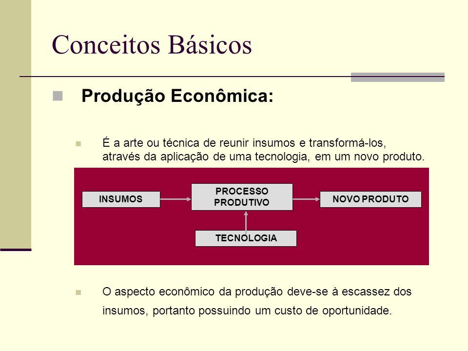 Conceitos Básicos Produção Econômica: É a arte ou técnica de reunir insumos e transformá-los, através da aplicação de uma tecnologia, em um novo produ
