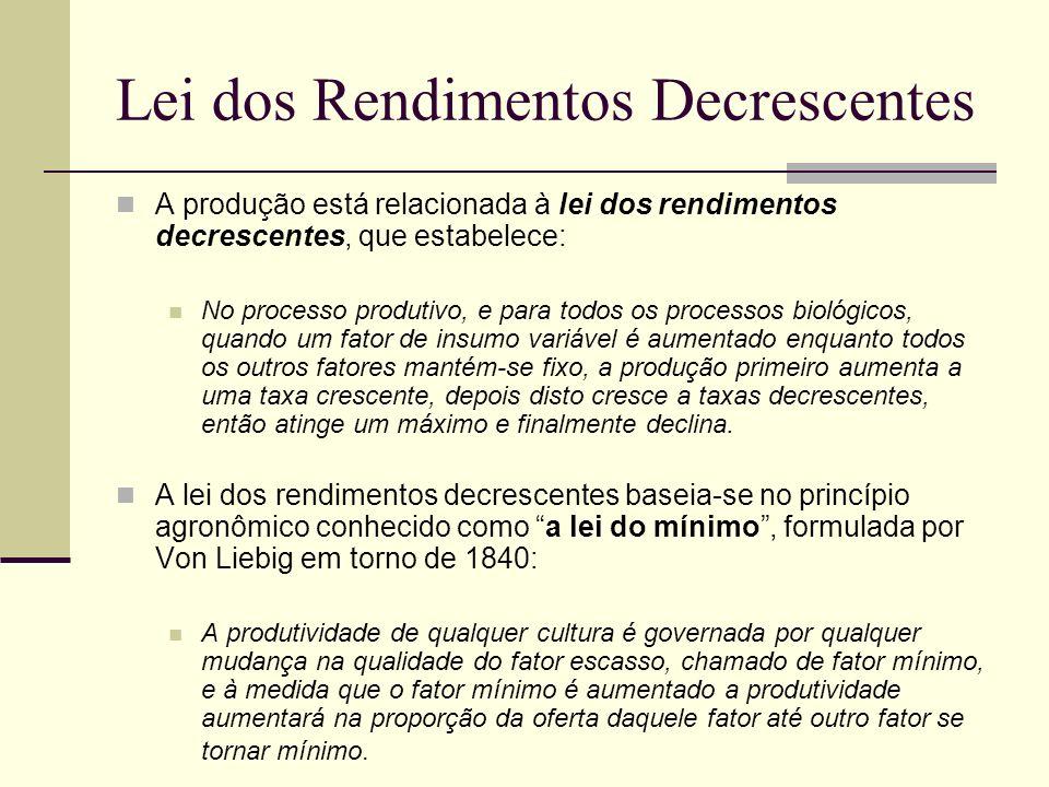 Lei dos Rendimentos Decrescentes A produção está relacionada à lei dos rendimentos decrescentes, que estabelece: No processo produtivo, e para todos o
