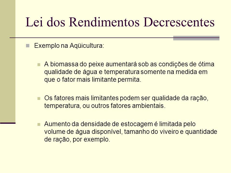 Lei dos Rendimentos Decrescentes Exemplo na Aqüicultura: A biomassa do peixe aumentará sob as condições de ótima qualidade de água e temperatura somen