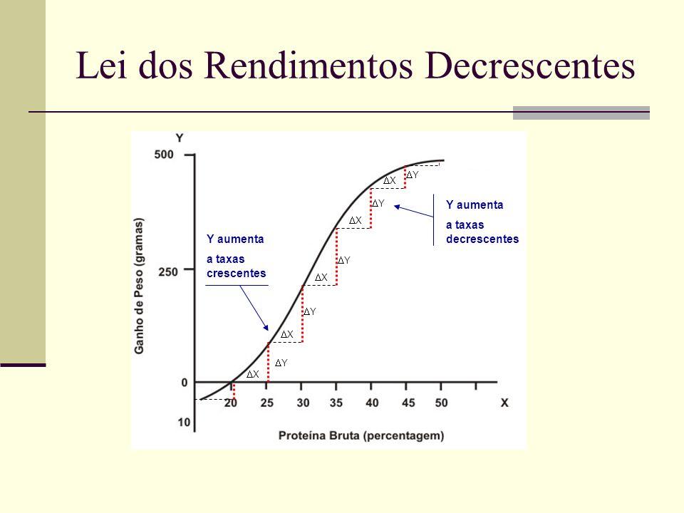 Lei dos Rendimentos Decrescentes Y aumenta a taxas crescentes Y aumenta a taxas decrescentes X X Y Y Y X X Y Y X