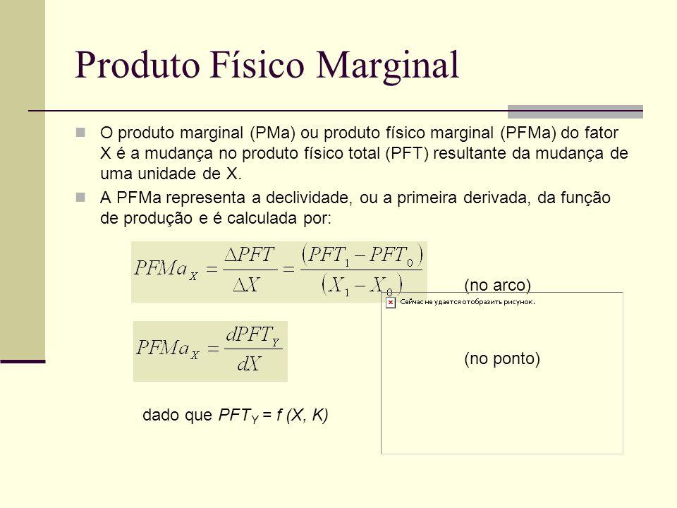 Produto Físico Marginal O produto marginal (PMa) ou produto físico marginal (PFMa) do fator X é a mudança no produto físico total (PFT) resultante da