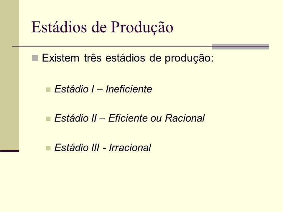 Estádios de Produção Existem três estádios de produção: Estádio I – Ineficiente Estádio II – Eficiente ou Racional Estádio III - Irracional