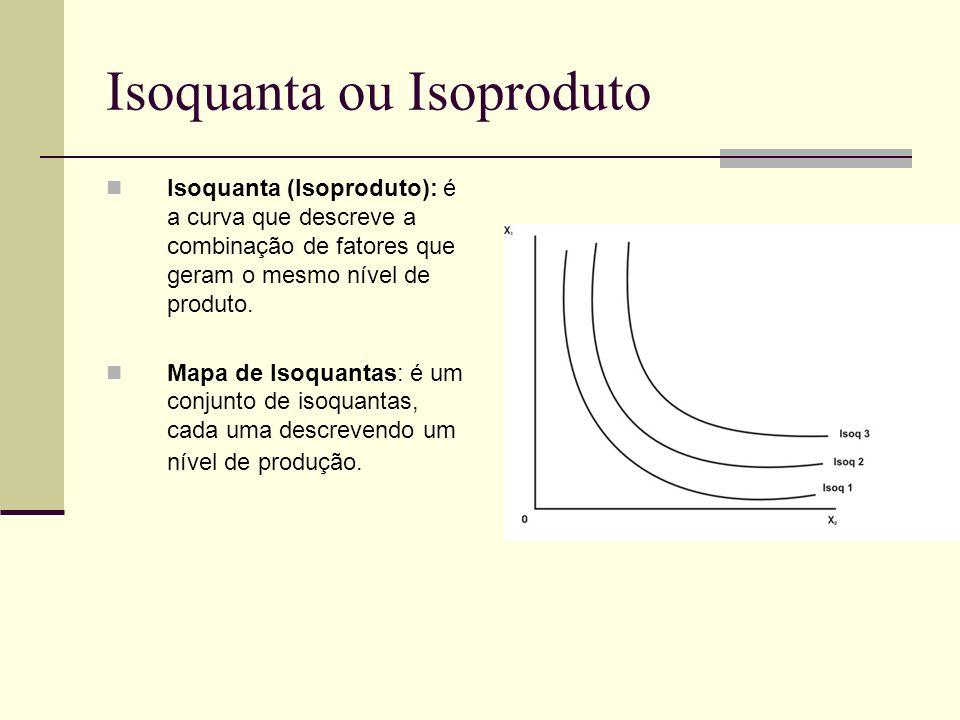 Isoquanta ou Isoproduto Isoquanta (Isoproduto): é a curva que descreve a combinação de fatores que geram o mesmo nível de produto. Mapa de Isoquantas: