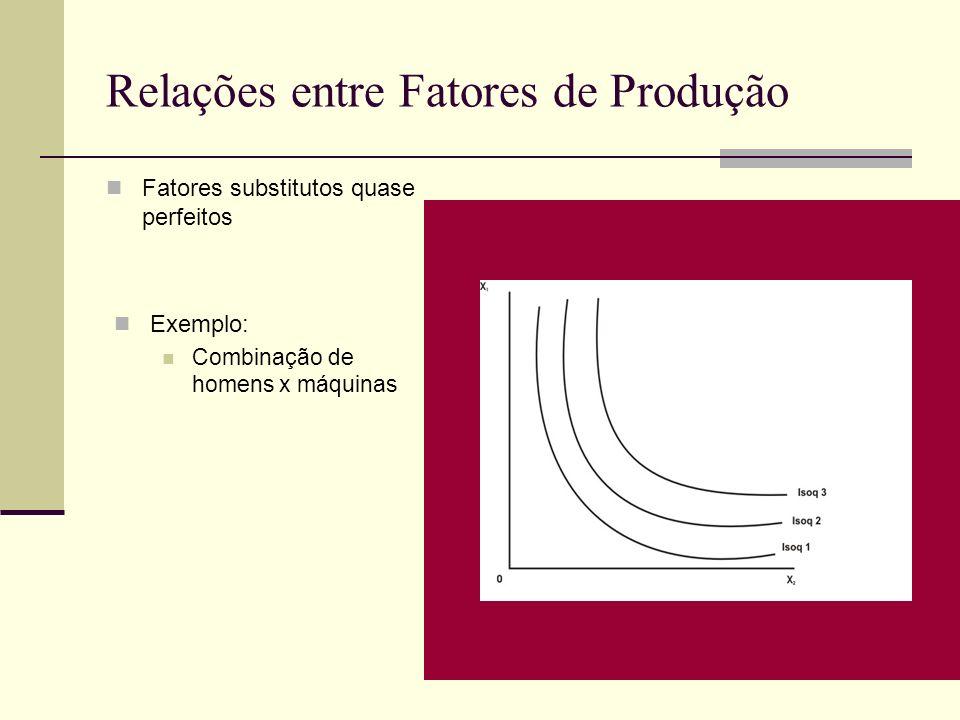 Relações entre Fatores de Produção Fatores substitutos quase perfeitos Exemplo: Combinação de homens x máquinas