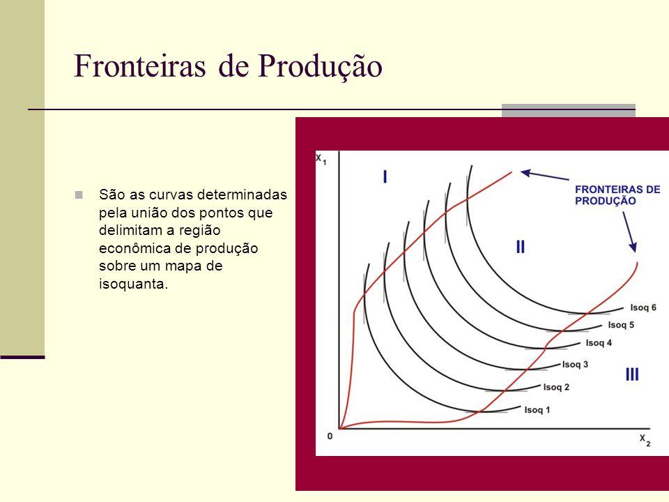 Fronteiras de Produção São as curvas determinadas pela união dos pontos que delimitam a região econômica de produção sobre um mapa de isoquanta.