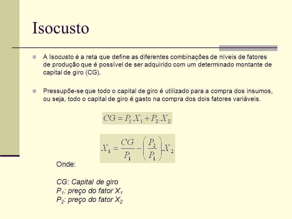 Isocusto A Isocusto é a reta que define as diferentes combinações de níveis de fatores de produção que é possível de ser adquirido com um determinado