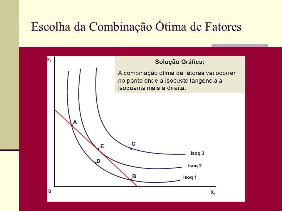 Escolha da Combinação Ótima de Fatores Solução Gráfica: A combinação ótima de fatores vai ocorrer no ponto onde a isocusto tangencia a isoquanta mais