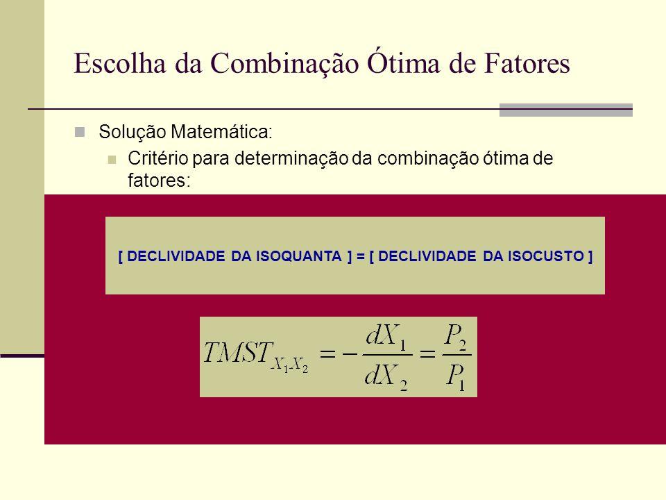 Escolha da Combinação Ótima de Fatores Solução Matemática: Critério para determinação da combinação ótima de fatores: [ DECLIVIDADE DA ISOQUANTA ] = [
