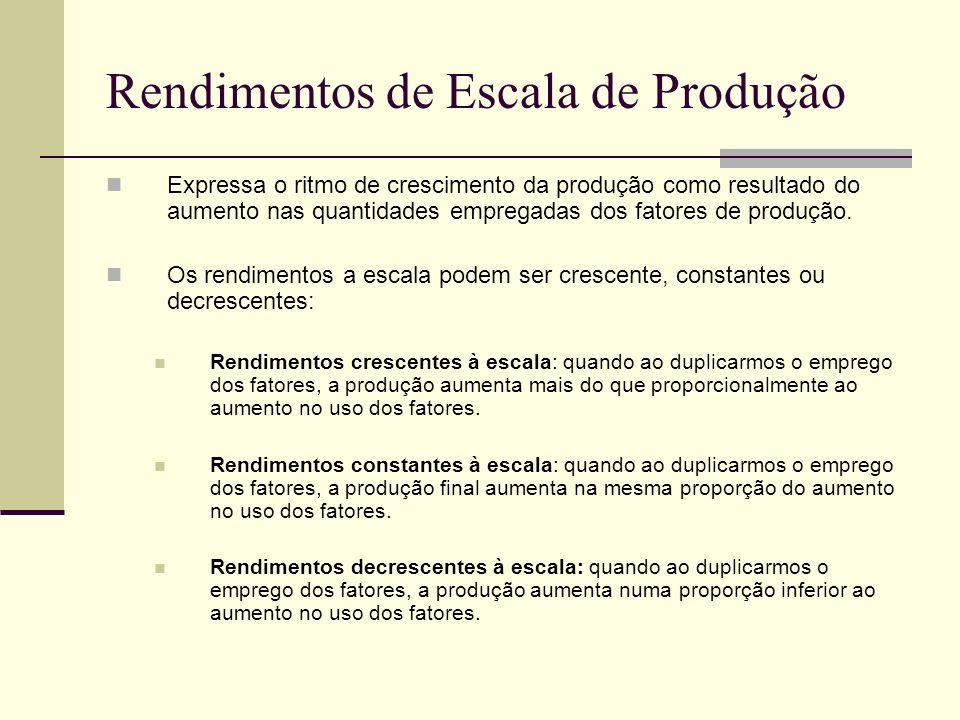 Rendimentos de Escala de Produção Expressa o ritmo de crescimento da produção como resultado do aumento nas quantidades empregadas dos fatores de prod