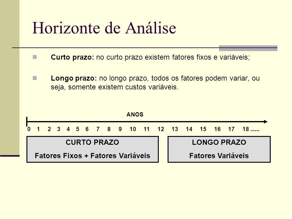 Horizonte de Análise Curto prazo: no curto prazo existem fatores fixos e variáveis; Longo prazo: no longo prazo, todos os fatores podem variar, ou sej