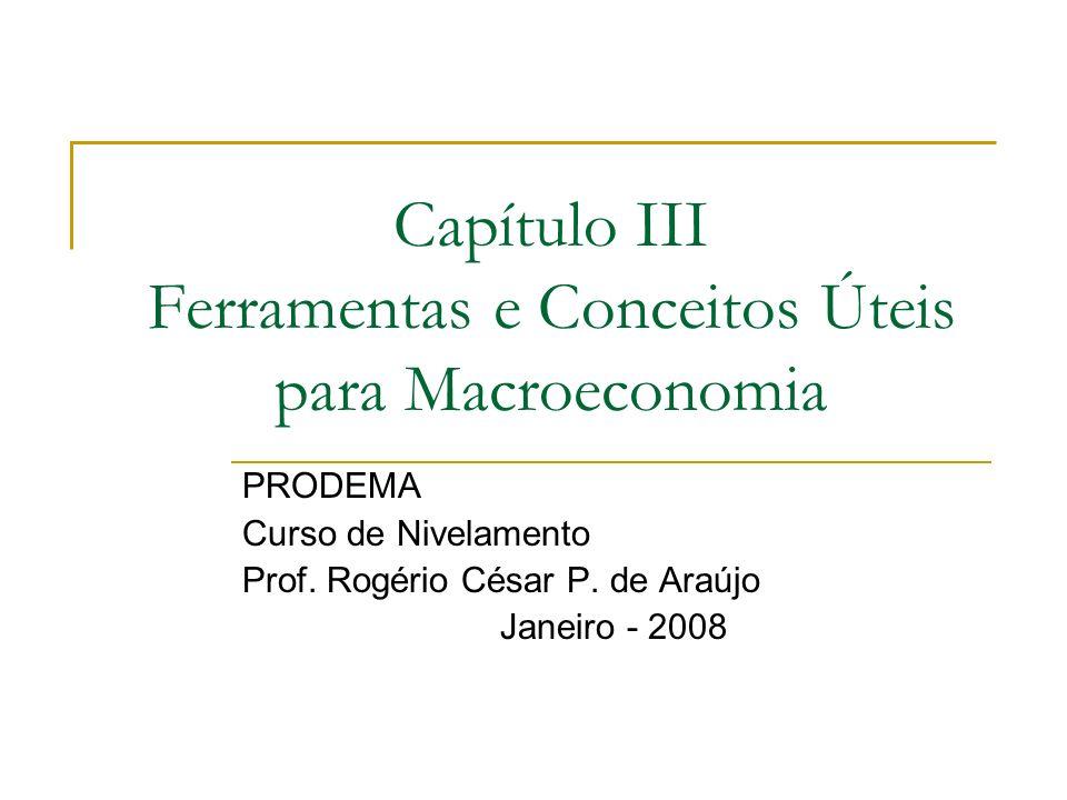 Capítulo III Ferramentas e Conceitos Úteis para Macroeconomia PRODEMA Curso de Nivelamento Prof. Rogério César P. de Araújo Janeiro - 2008