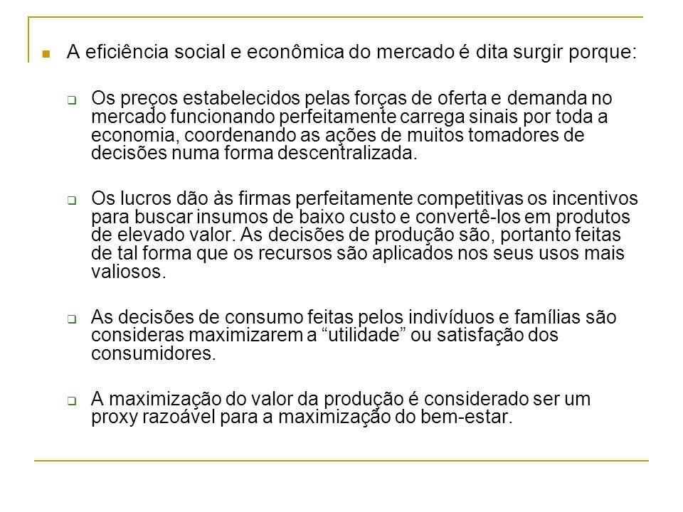 A eficiência social e econômica do mercado é dita surgir porque: Os preços estabelecidos pelas forças de oferta e demanda no mercado funcionando perfe