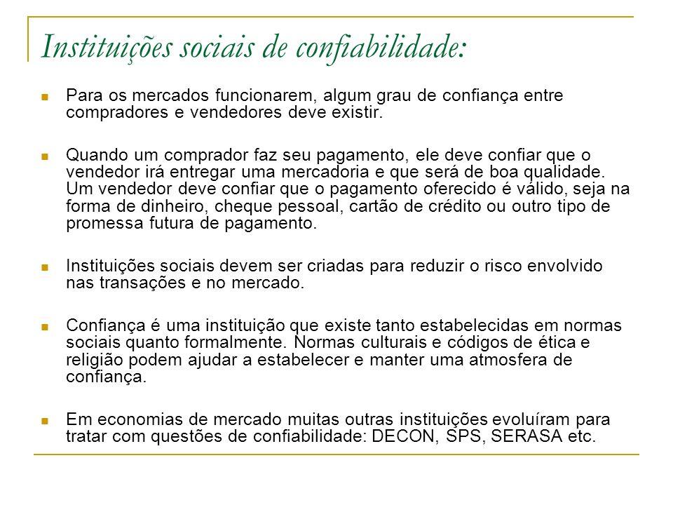 Instituições sociais de confiabilidade: Para os mercados funcionarem, algum grau de confiança entre compradores e vendedores deve existir. Quando um c
