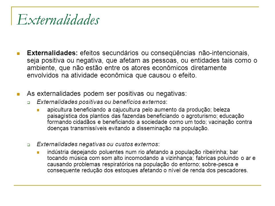 Externalidades Externalidades: efeitos secundários ou conseqüências não-intencionais, seja positiva ou negativa, que afetam as pessoas, ou entidades t