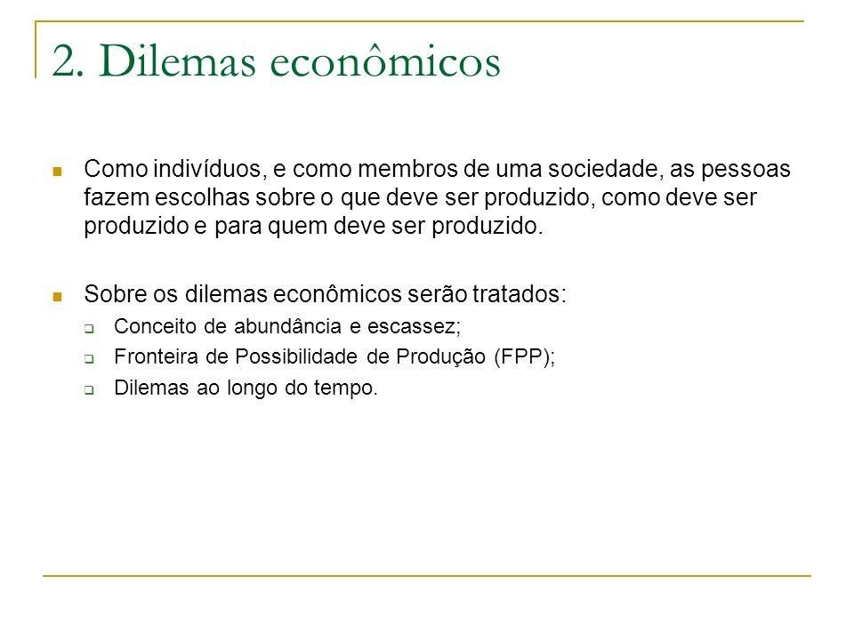 2. Dilemas econômicos Como indivíduos, e como membros de uma sociedade, as pessoas fazem escolhas sobre o que deve ser produzido, como deve ser produz
