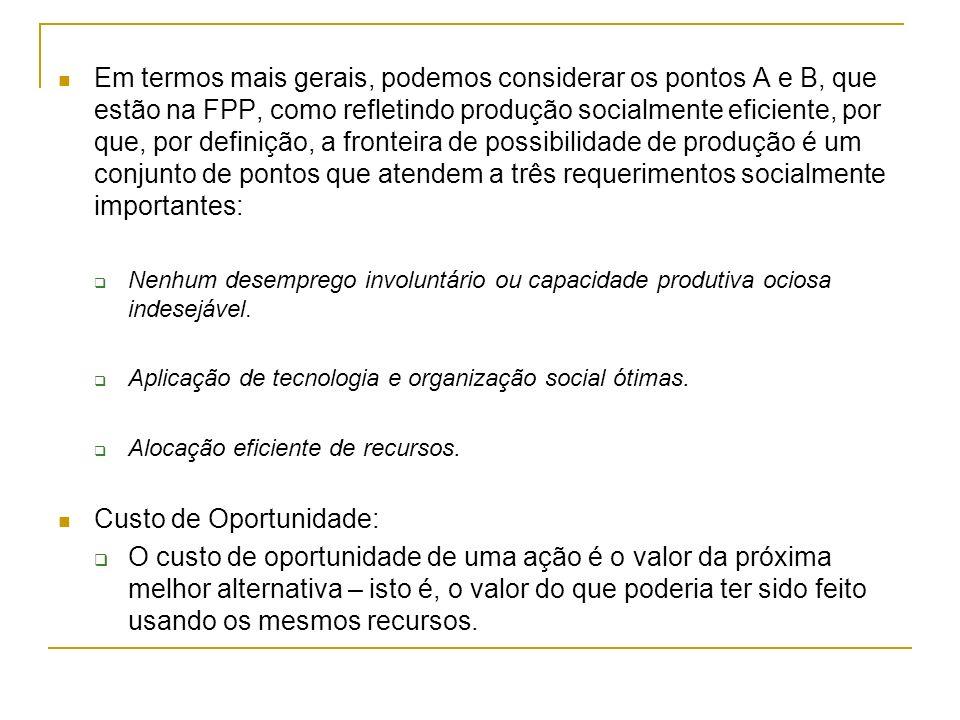 Em termos mais gerais, podemos considerar os pontos A e B, que estão na FPP, como refletindo produção socialmente eficiente, por que, por definição, a