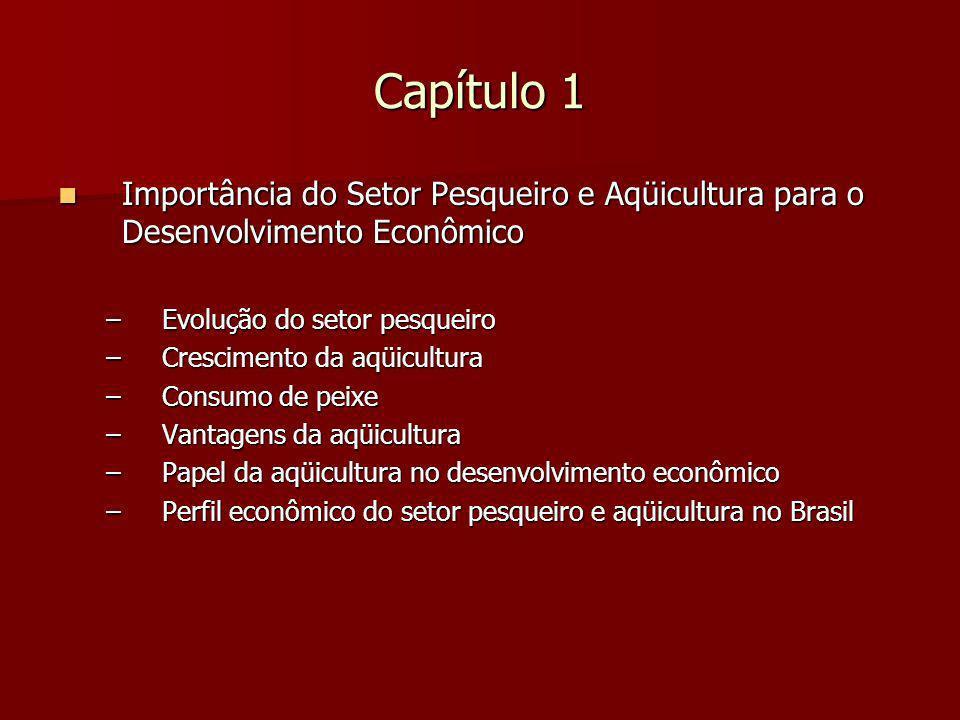 Capítulo 1 Importância do Setor Pesqueiro e Aqüicultura para o Desenvolvimento Econômico Importância do Setor Pesqueiro e Aqüicultura para o Desenvolvimento Econômico –Evolução do setor pesqueiro –Crescimento da aqüicultura –Consumo de peixe –Vantagens da aqüicultura –Papel da aqüicultura no desenvolvimento econômico –Perfil econômico do setor pesqueiro e aqüicultura no Brasil