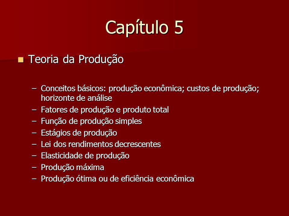 Capítulo 5 Teoria da Produção Teoria da Produção –Conceitos básicos: produção econômica; custos de produção; horizonte de análise –Fatores de produção e produto total –Função de produção simples –Estágios de produção –Lei dos rendimentos decrescentes –Elasticidade de produção –Produção máxima –Produção ótima ou de eficiência econômica