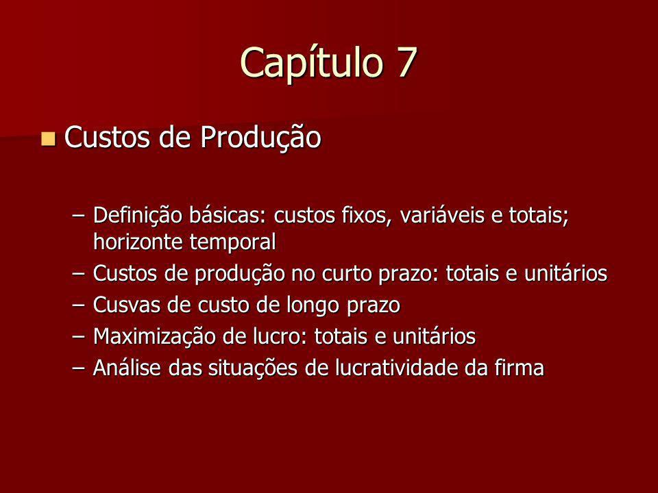 Capítulo 7 Custos de Produção Custos de Produção –Definição básicas: custos fixos, variáveis e totais; horizonte temporal –Custos de produção no curto