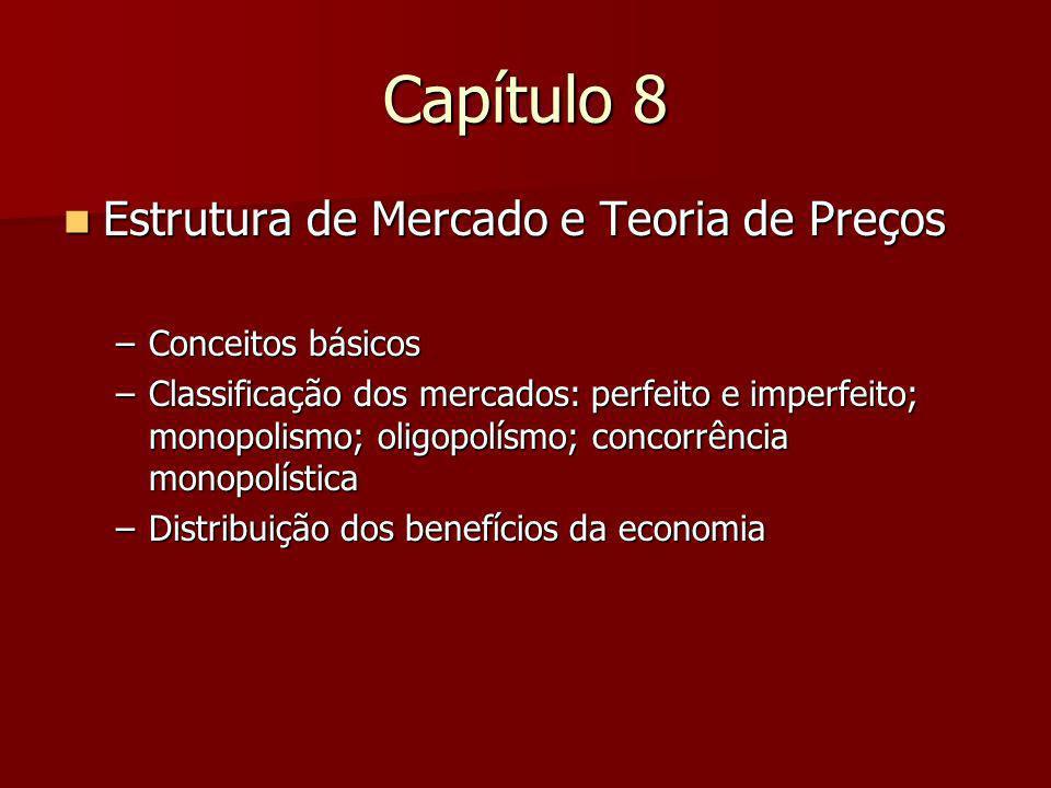 Capítulo 8 Estrutura de Mercado e Teoria de Preços Estrutura de Mercado e Teoria de Preços –Conceitos básicos –Classificação dos mercados: perfeito e imperfeito; monopolismo; oligopolísmo; concorrência monopolística –Distribuição dos benefícios da economia