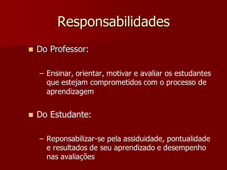 Responsabilidades Do Professor: Do Professor: – –Ensinar, orientar, motivar e avaliar os estudantes que estejam comprometidos com o processo de aprend