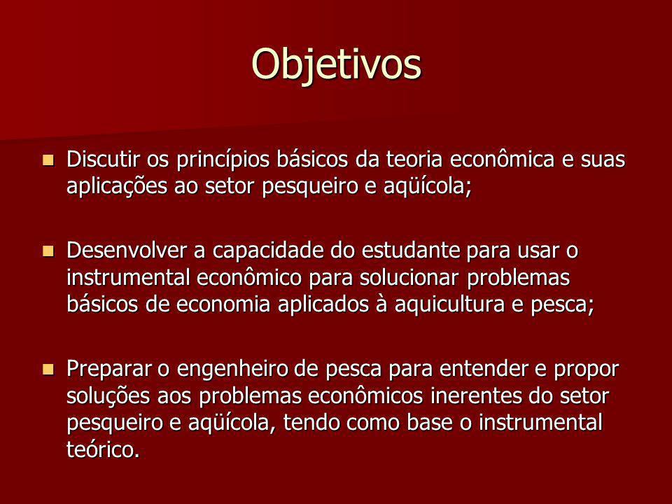 Objetivos Discutir os princípios básicos da teoria econômica e suas aplicações ao setor pesqueiro e aqüícola; Discutir os princípios básicos da teoria