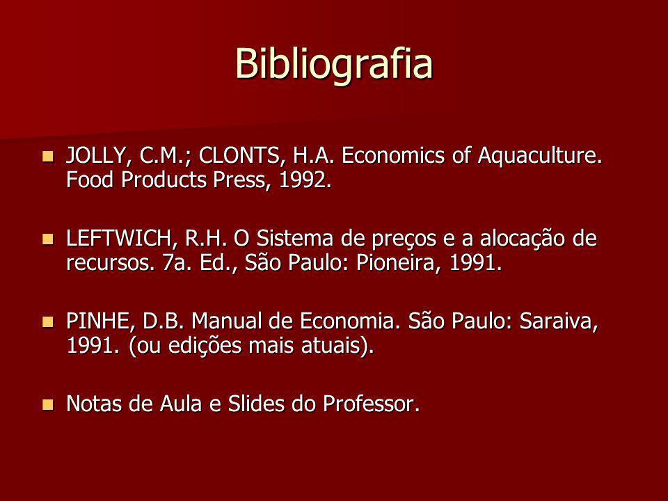 Bibliografia JOLLY, C.M.; CLONTS, H.A. Economics of Aquaculture. Food Products Press, 1992. JOLLY, C.M.; CLONTS, H.A. Economics of Aquaculture. Food P