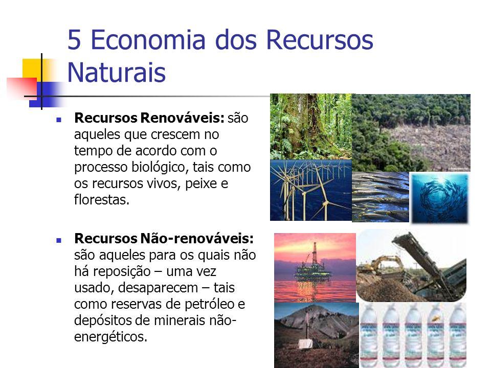 5 Economia dos Recursos Naturais Recursos Renováveis: são aqueles que crescem no tempo de acordo com o processo biológico, tais como os recursos vivos